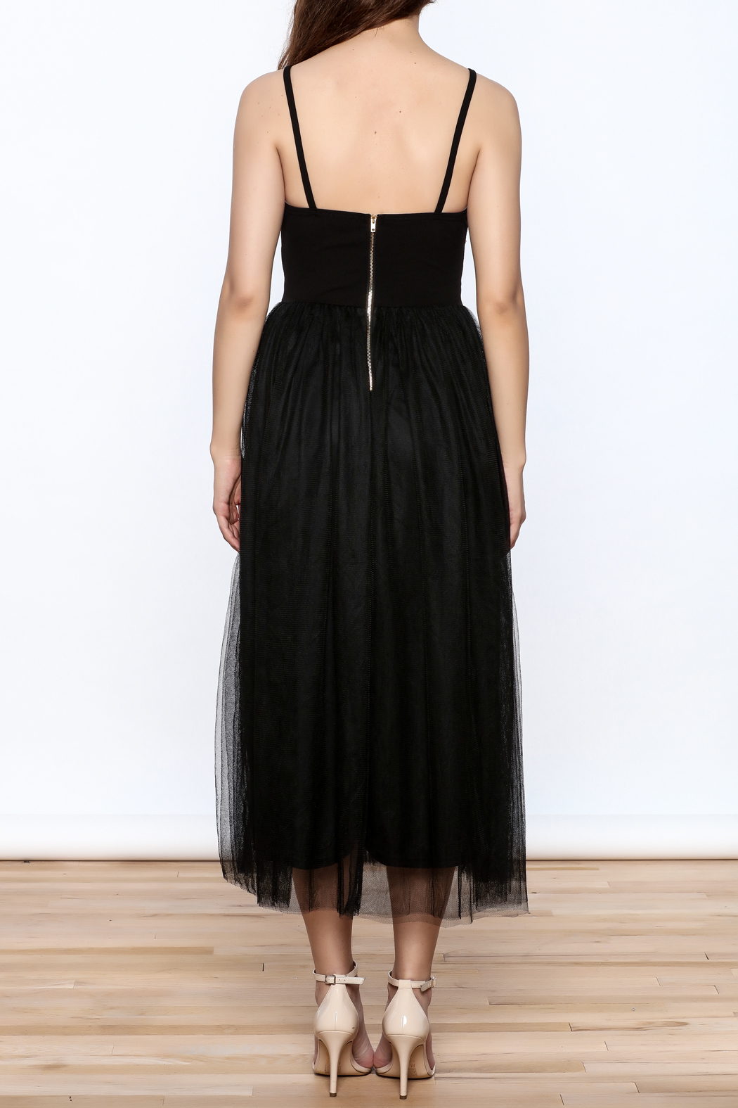 privy Black Embroidered Sleeveless Dress - Back Cropped Image