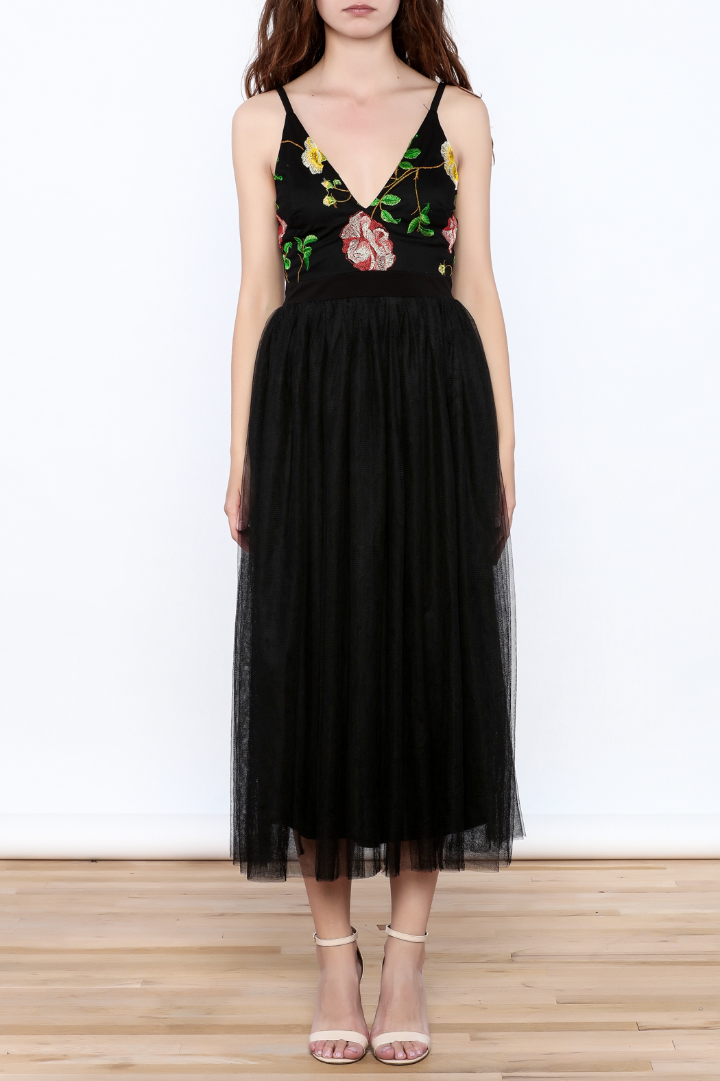 privy Black Embroidered Sleeveless Dress - Front Cropped Image