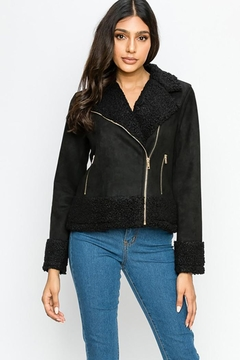 Shoptiques Product: Faux Fur Suede Moto Jacket