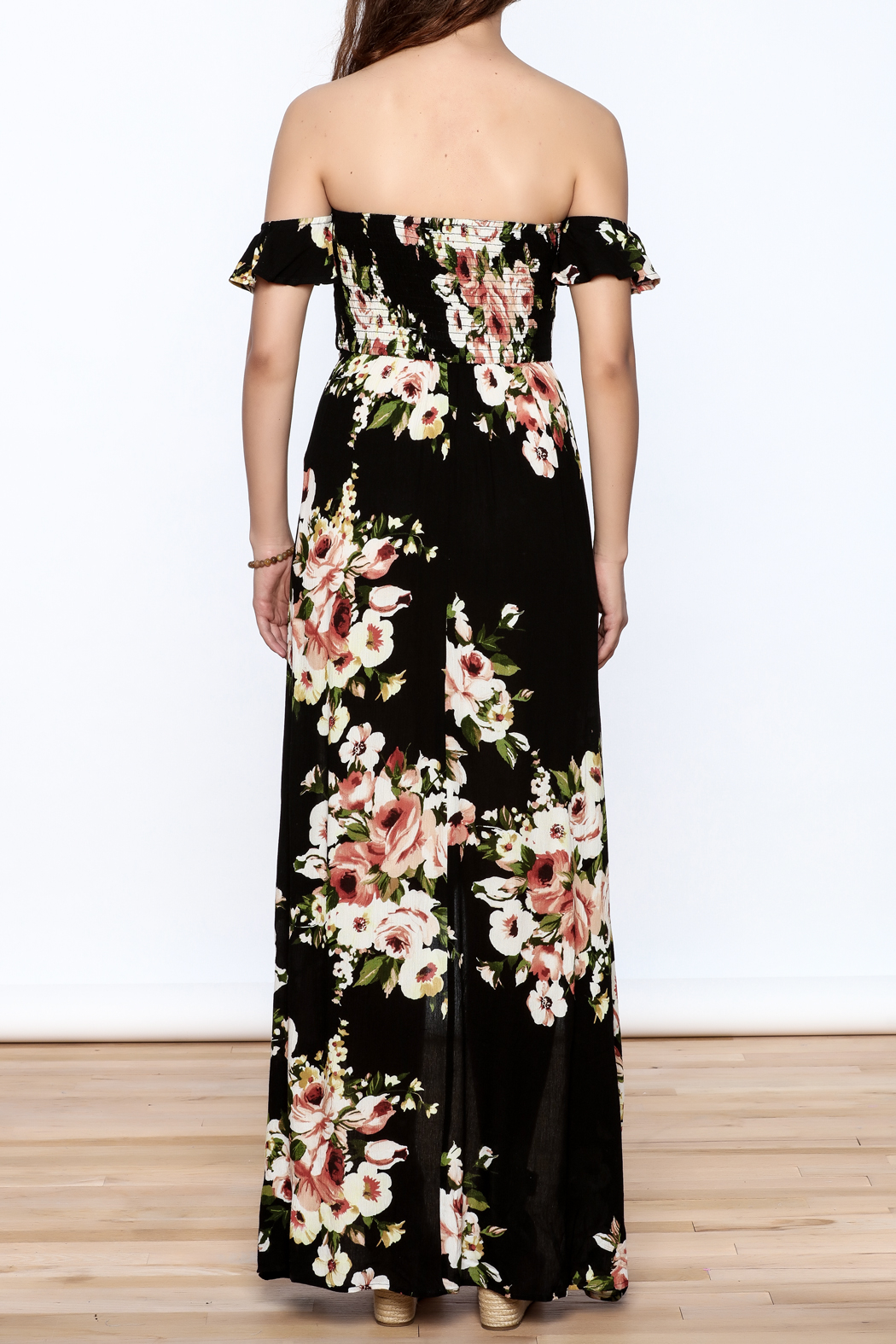 privy Black Floral Maxi Dress - Back Cropped Image