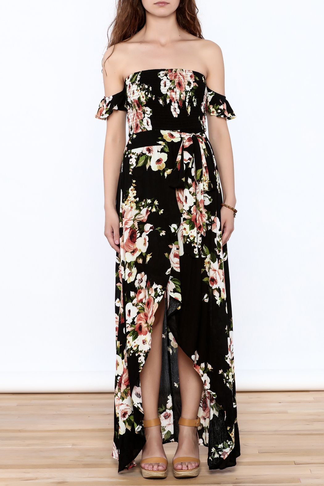 privy Black Floral Maxi Dress - Front Cropped Image