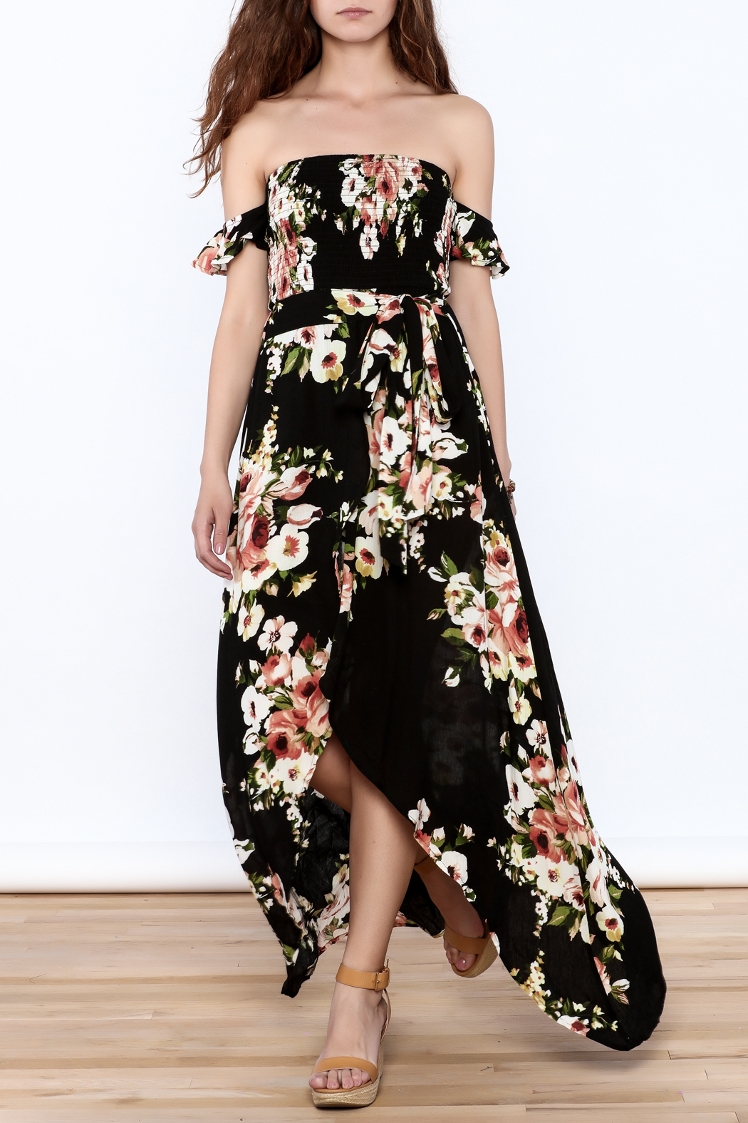 privy Black Floral Maxi Dress - Front Full Image