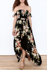 privy Black Floral Maxi Dress - Front full body