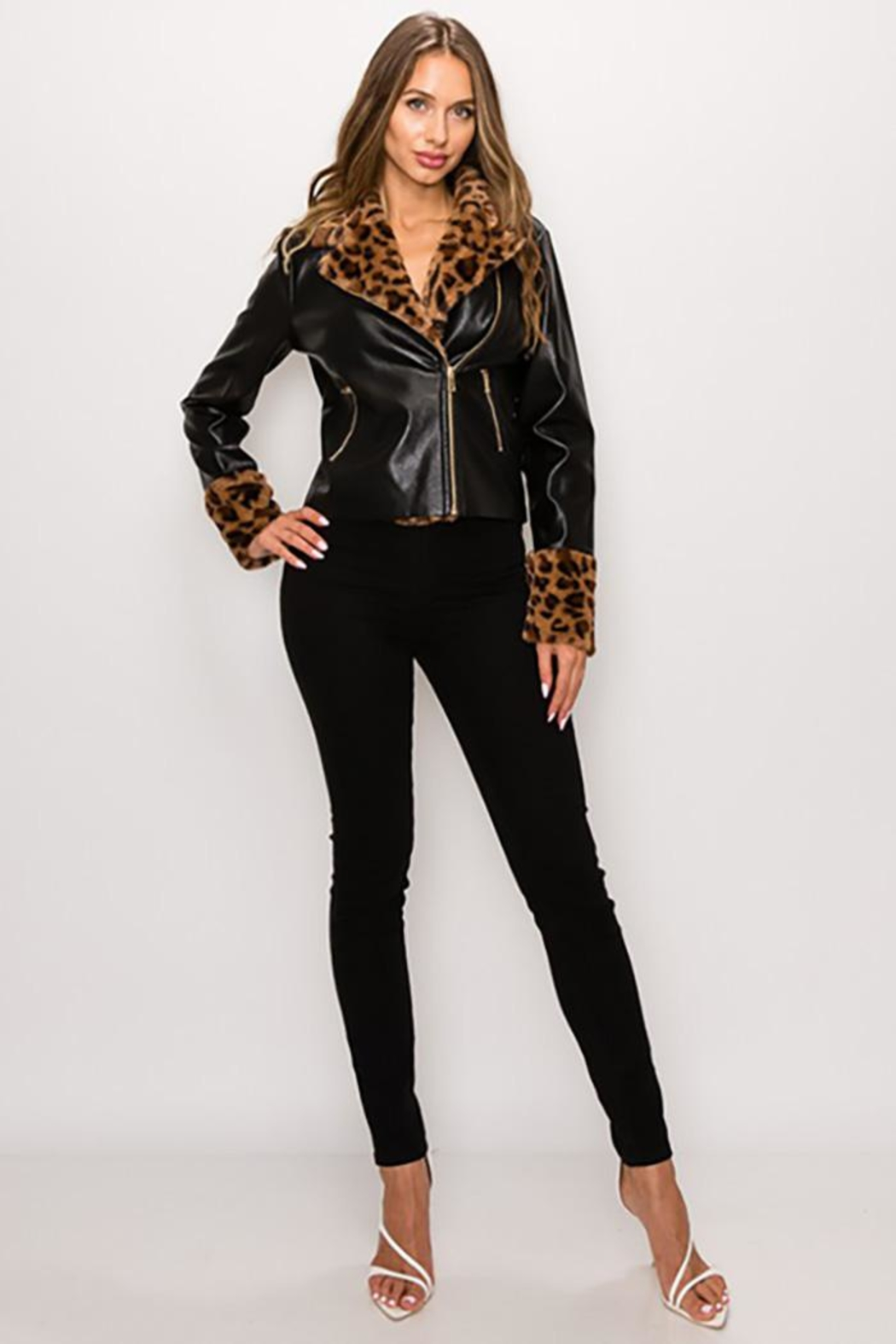 privy Leopard Fur Faux Leather Jacket - Front Cropped Image