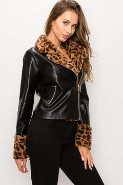 Shoptiques Product: Leopard Fur Faux Leather Jacket