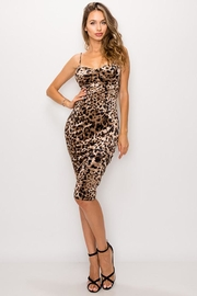 privy Leopard Print Velvet Sweetheart Dress - Product Mini Image