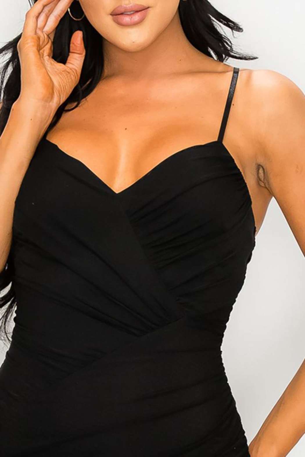 privy Ruched Cutout Midi Dress - Front Full Image