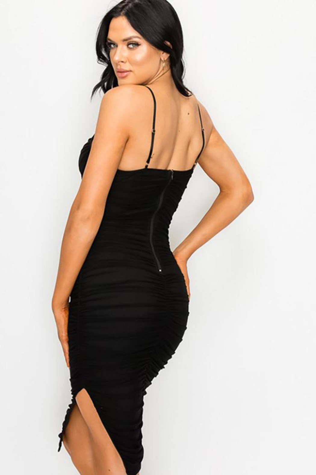 privy Ruched Cutout Midi Dress - Back Cropped Image