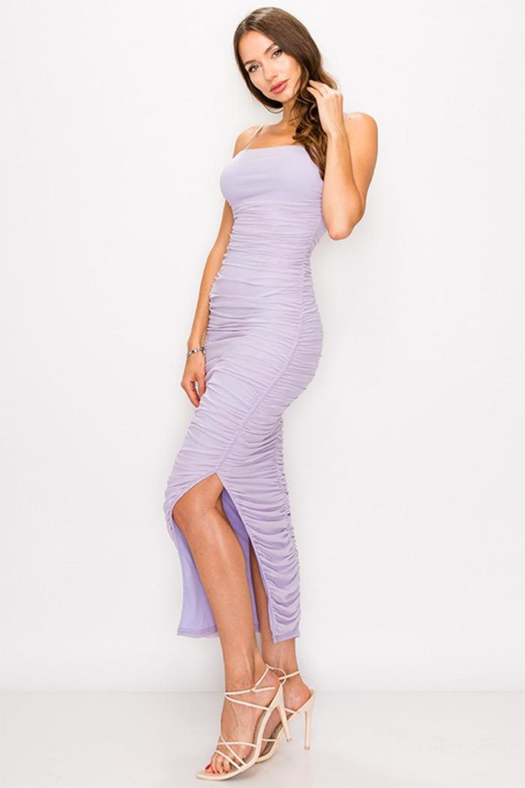 privy Ruched Mesh Dress - Side Cropped Image