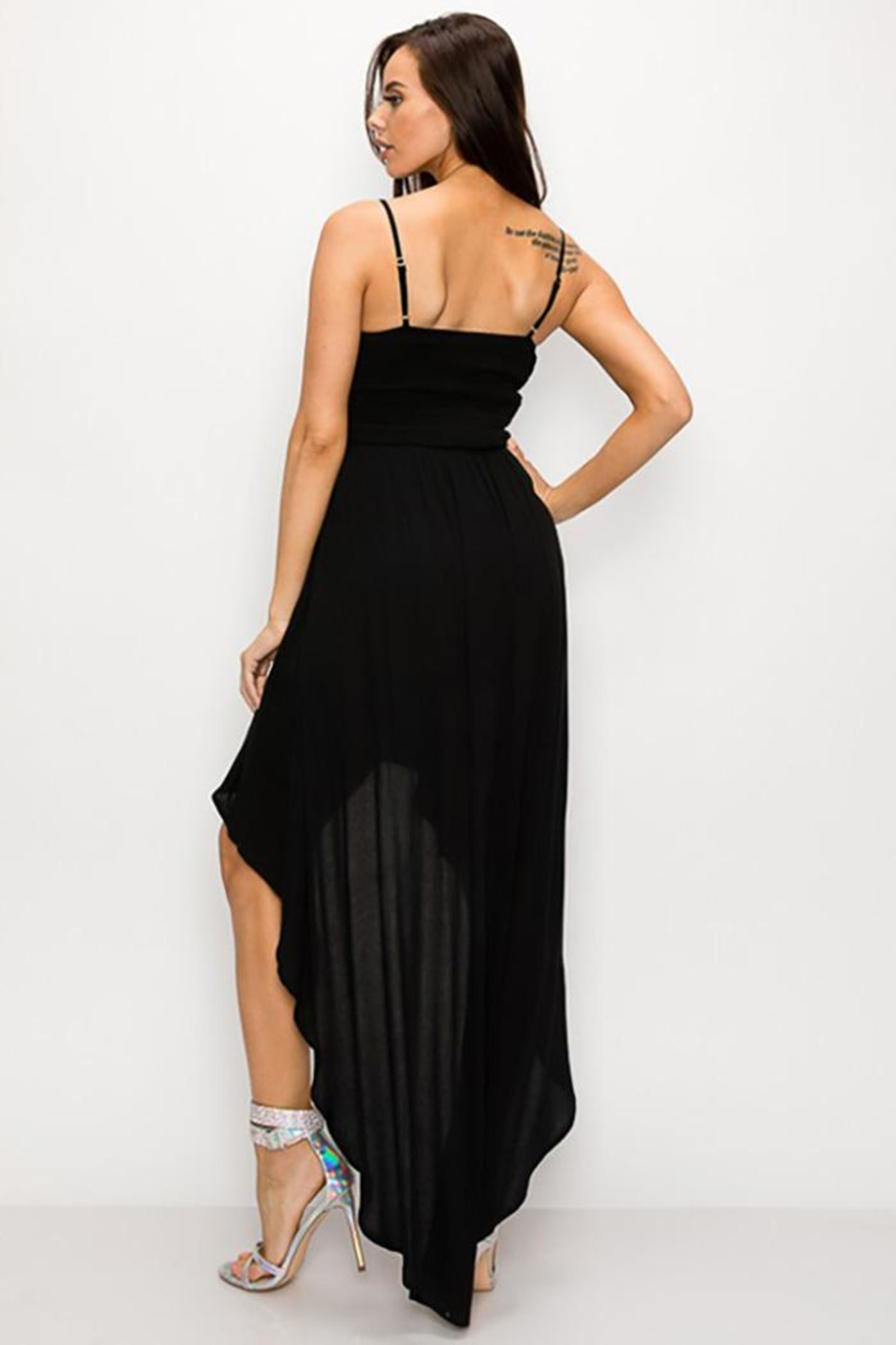 privy Scallop Lace  Asymmetrical Maxi Dress - Front Full Image