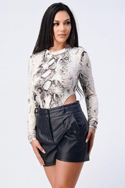 privy Snake Print Extreme Cut Bodysuit - Front cropped