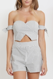 privy Stripe Off Shoulder Romper - Product Mini Image