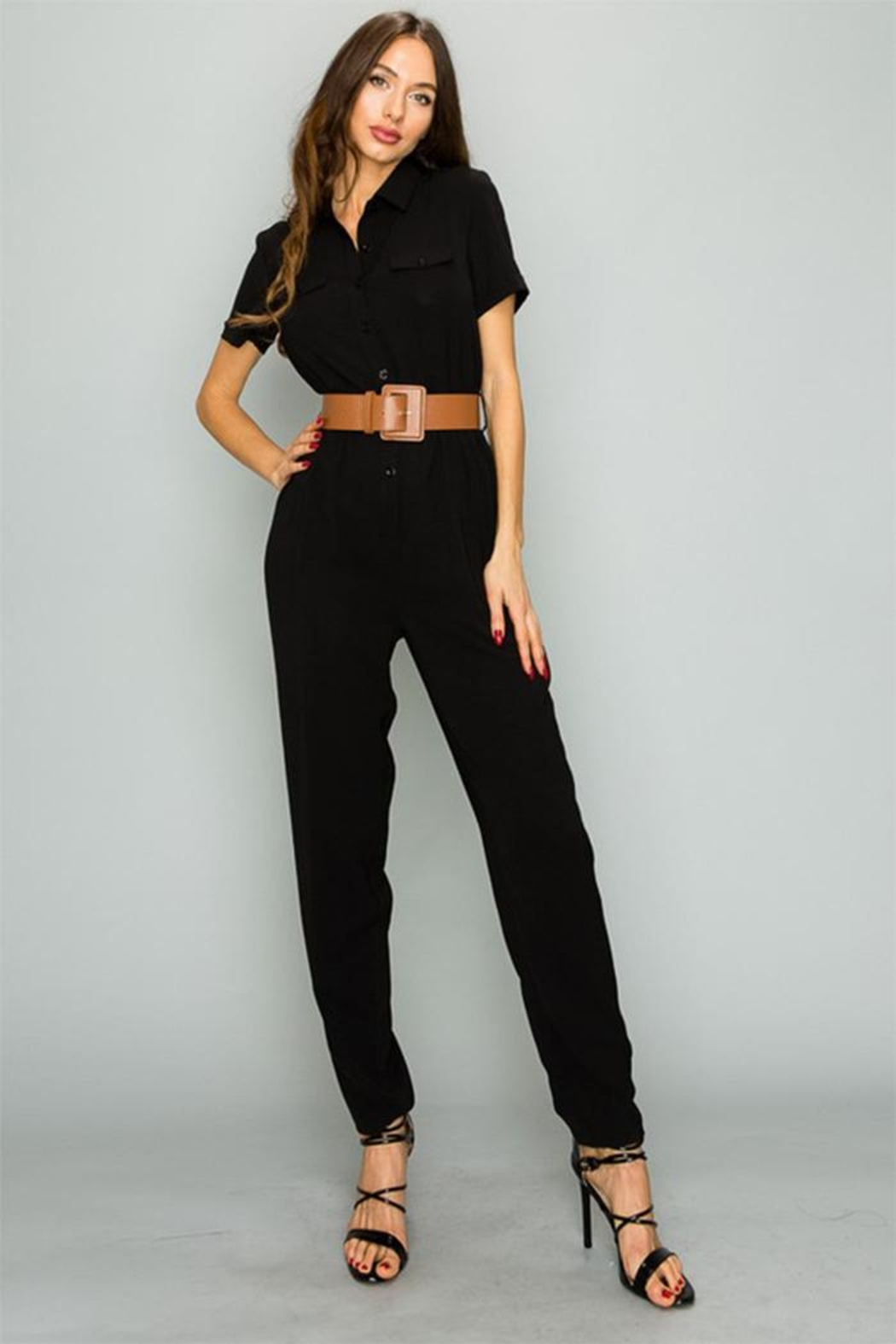 privy inc Button Down Jumpsuit - Front Cropped Image