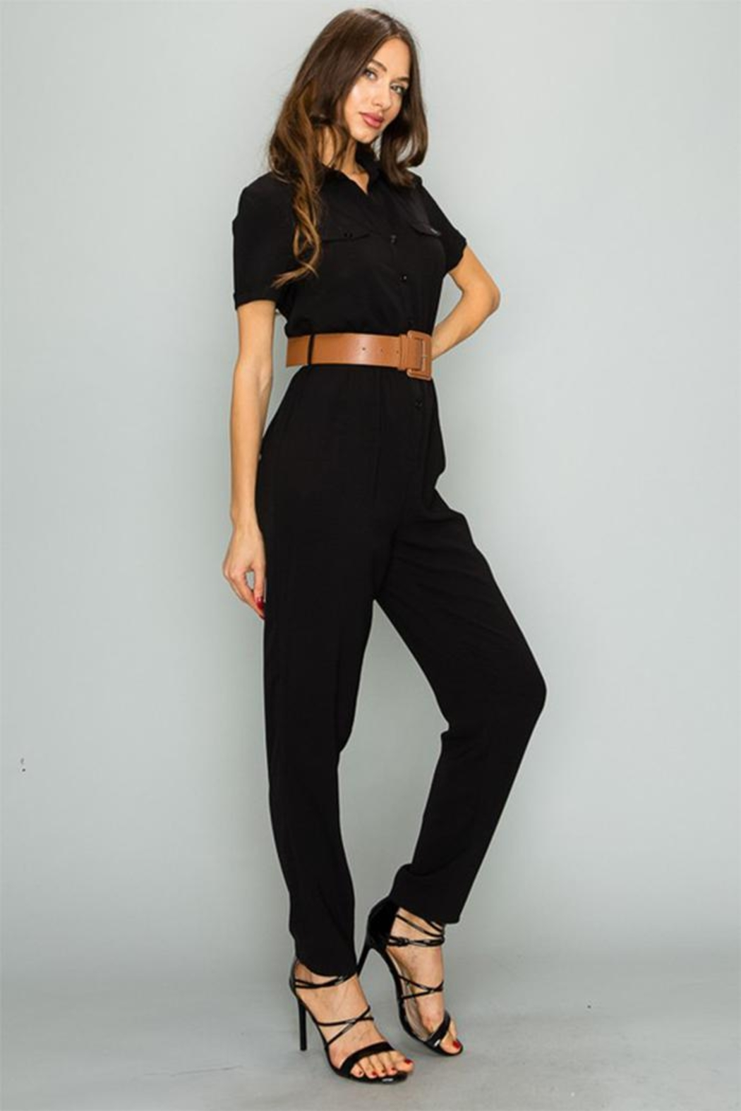 privy inc Button Down Jumpsuit - Front Full Image