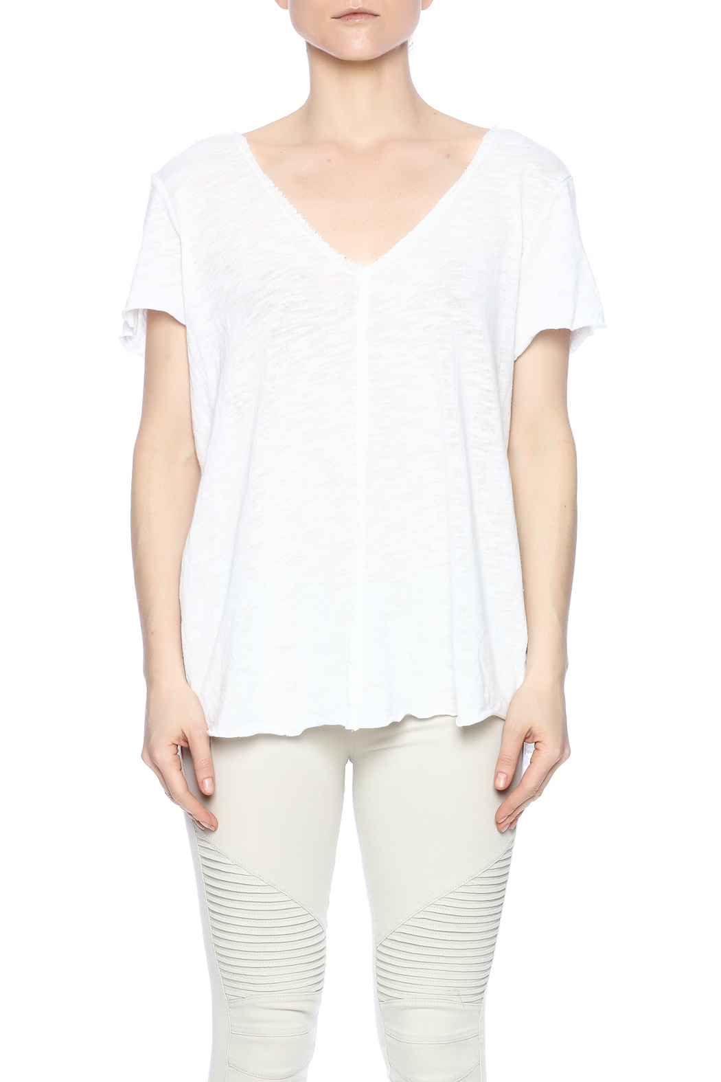 Project Social T Raw Edge V-Neck - Side Cropped Image