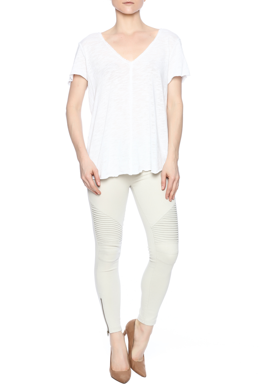 Project Social T Raw Edge V-Neck - Front Full Image