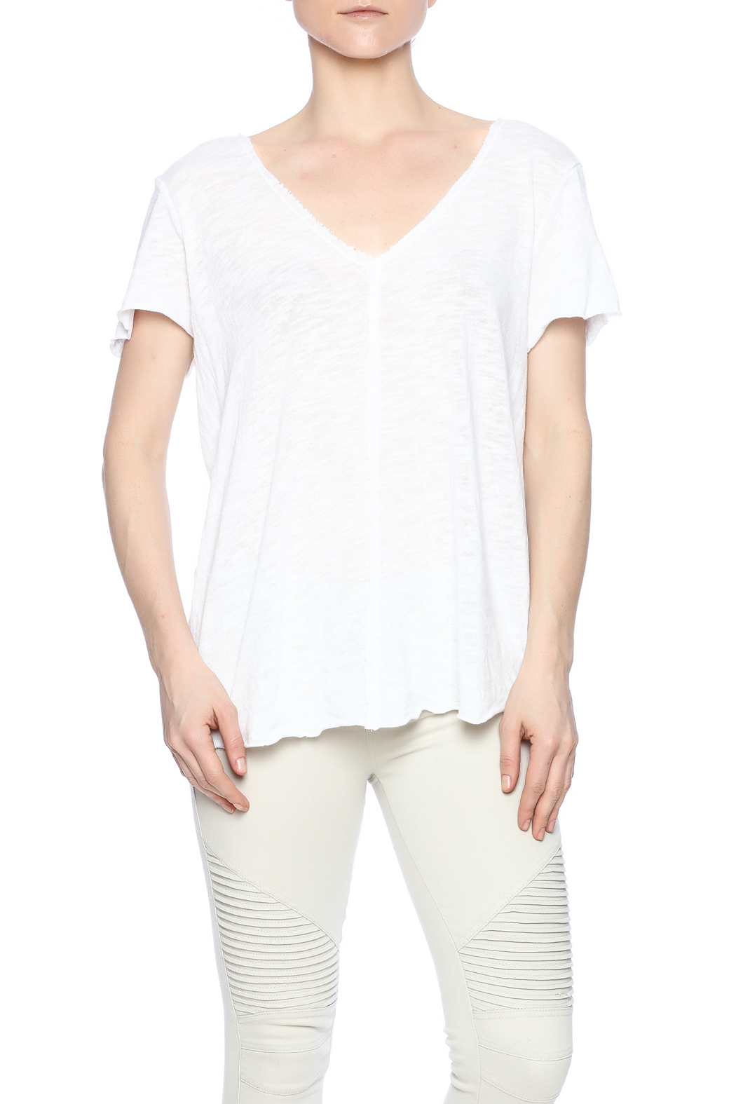 Project Social T Raw Edge V-Neck - Front Cropped Image