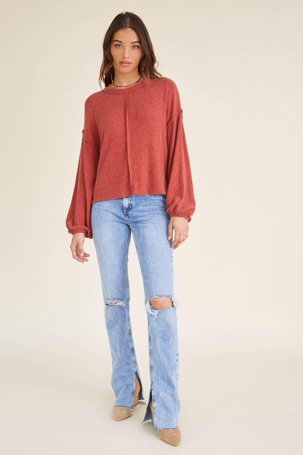 Project Social T Heathered Crew Sweater - Back Cropped Image