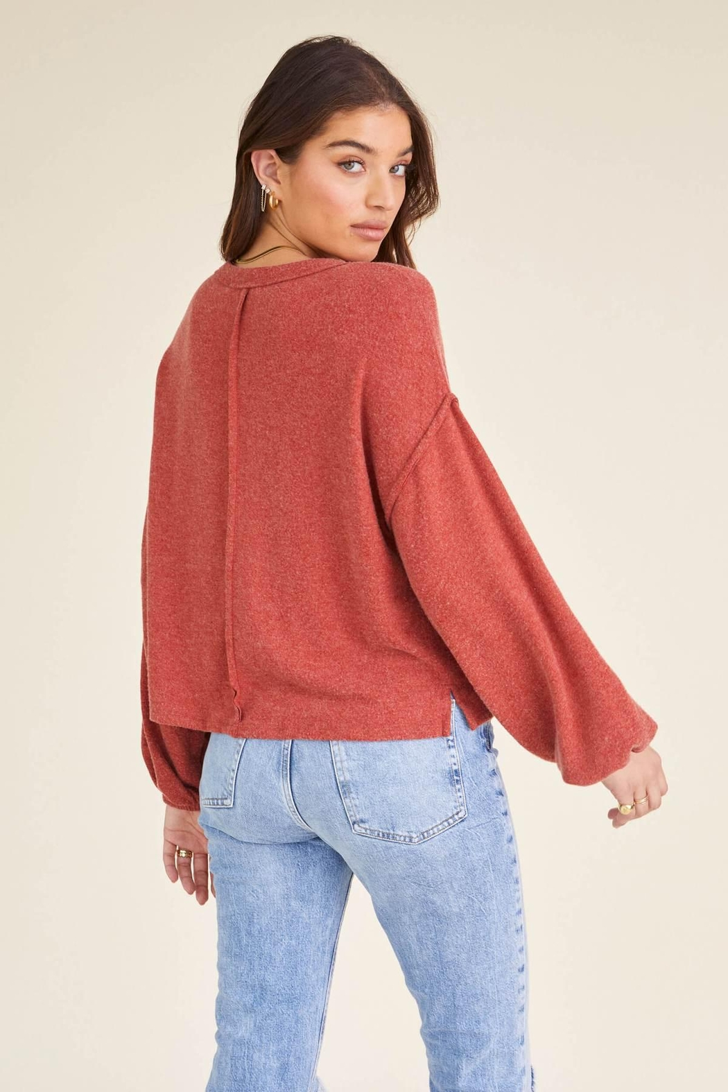 Project Social T Heathered Crew Sweater - Side Cropped Image