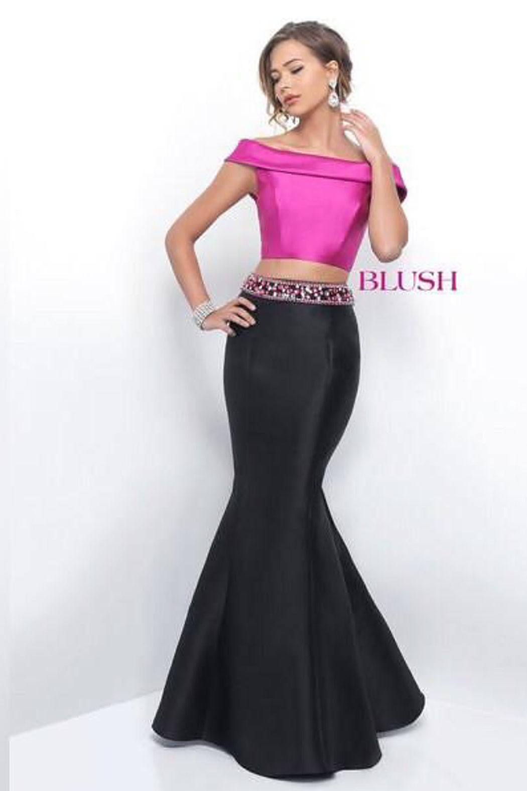 Blush Prom Gown with Black Satin Trumpet Skirt - Main Image