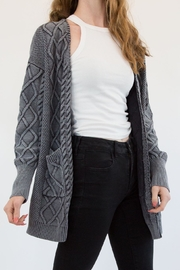 Promesa Chunky Grey Cardigan - Front cropped