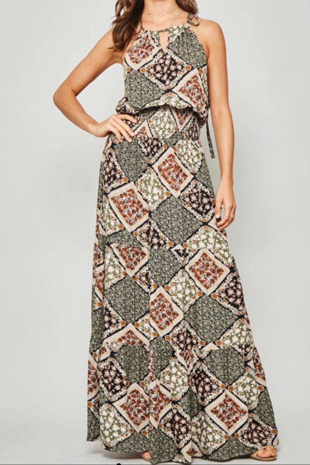 Promesa Halter Maxi Dress - Front Cropped Image
