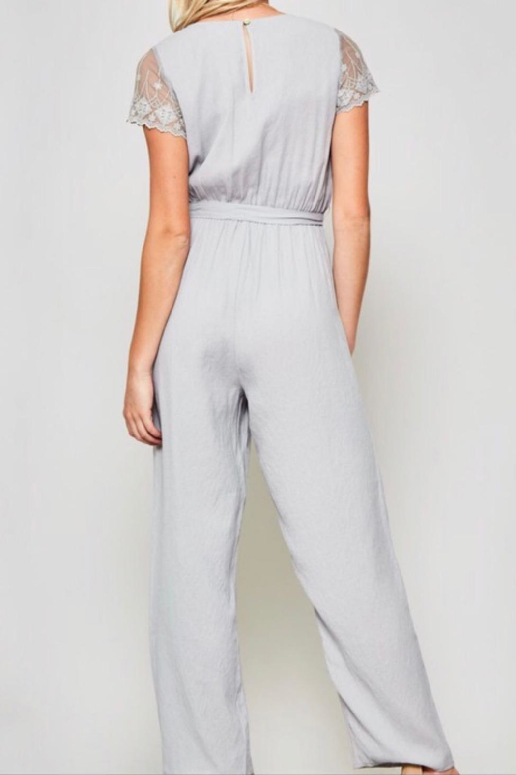Promesa Lace-Sleeve Belted Jumpsuit - Back Cropped Image