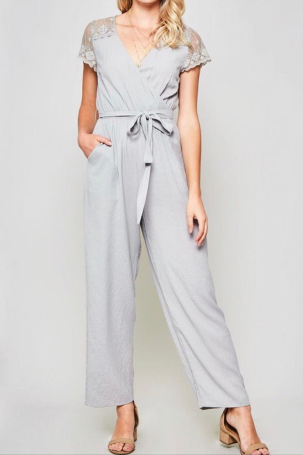 Promesa Lace-Sleeve Belted Jumpsuit - Main Image