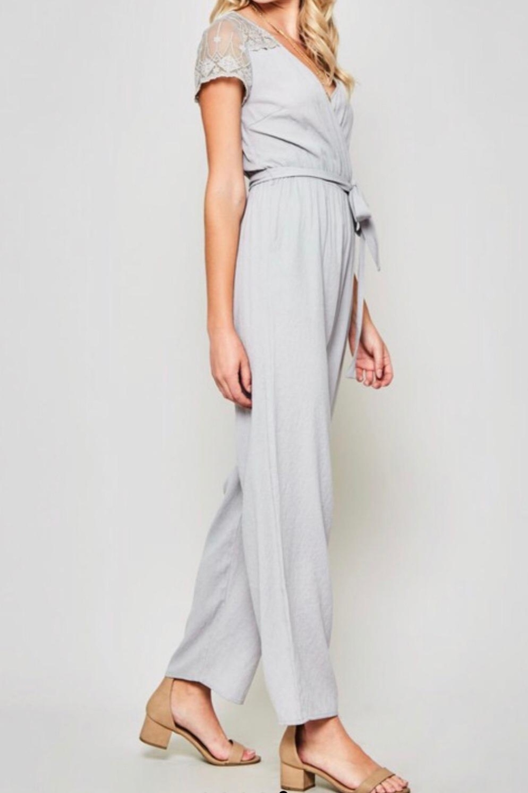 Promesa Lace-Sleeve Belted Jumpsuit - Front Full Image