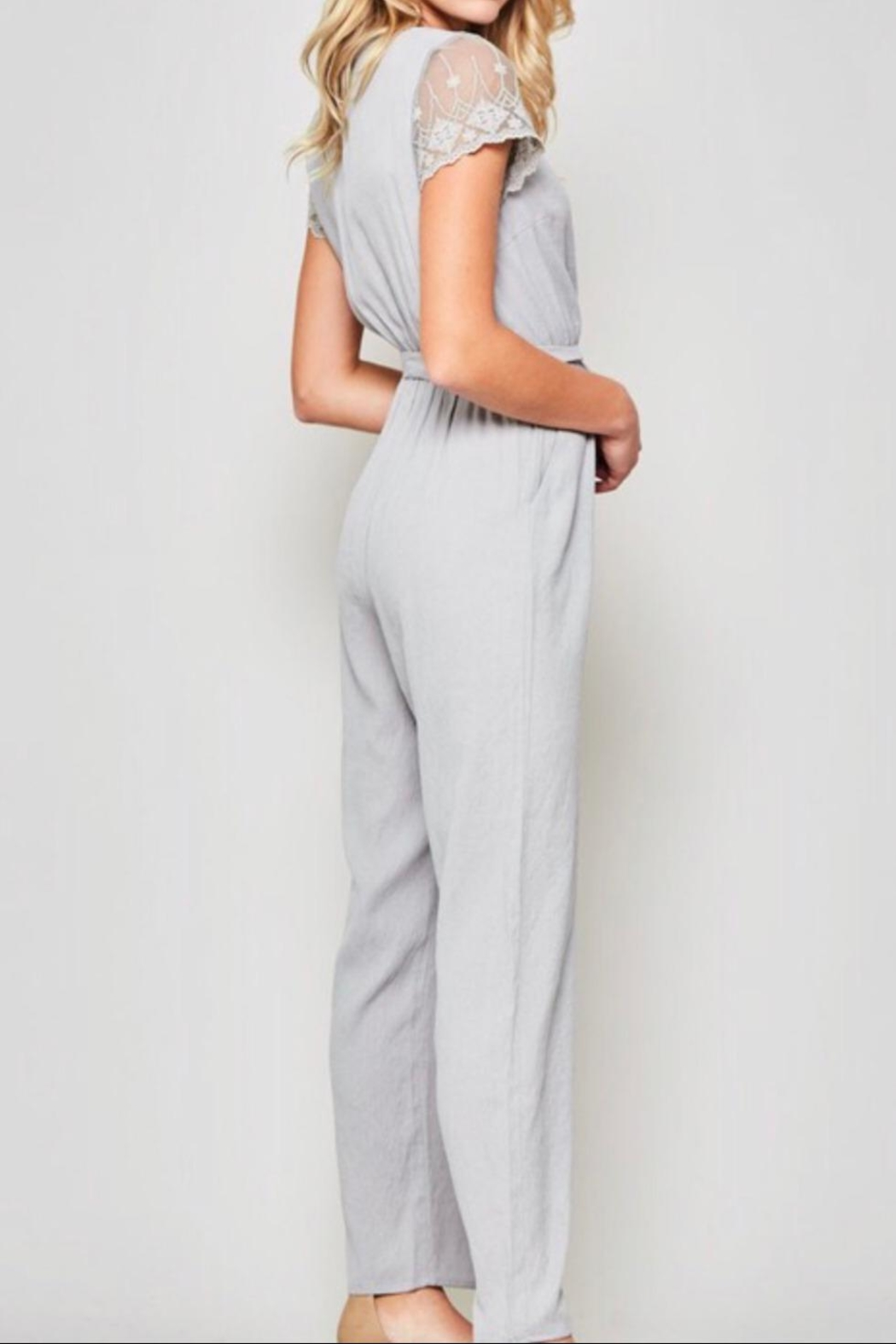 Promesa Lace-Sleeve Belted Jumpsuit - Side Cropped Image