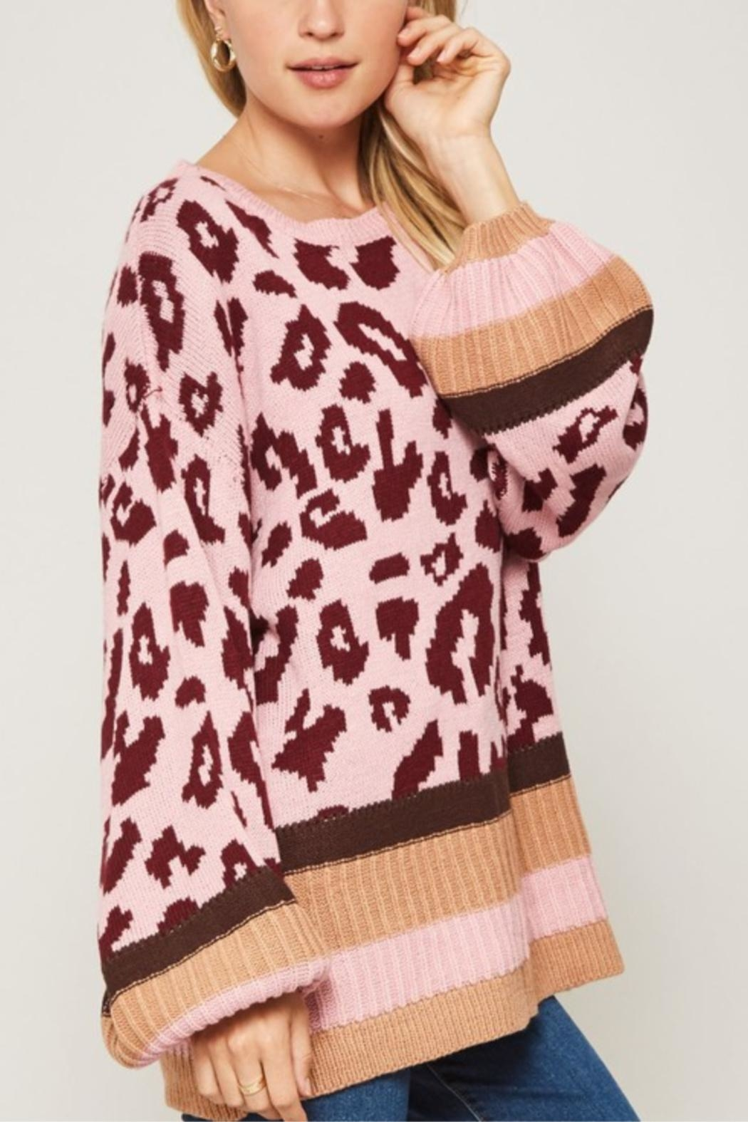 Promesa Leopard Patterned Knit Sweater - Side Cropped Image