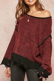 Promesa Merlot Distressed Sweater - Product Mini Image