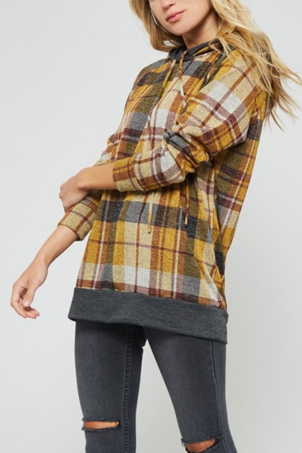 Promesa Plaid Double-Hoodie Top - Main Image