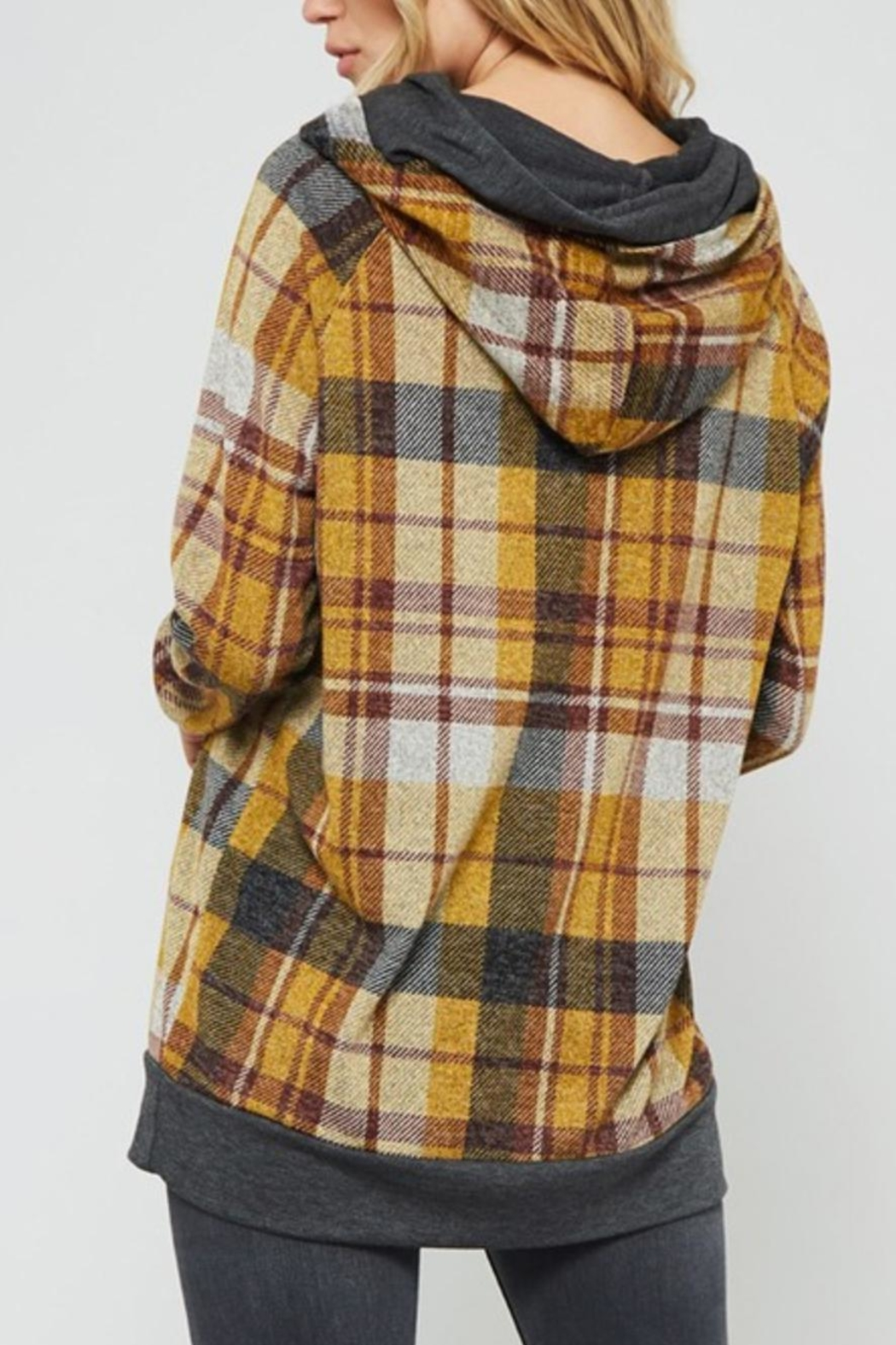 Promesa Plaid Double-Hoodie Top - Side Cropped Image