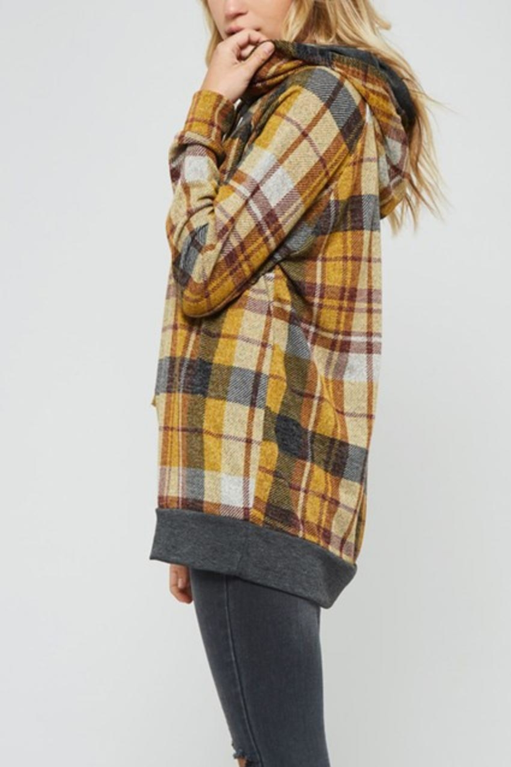 Promesa Plaid Double-Hoodie Top - Front Full Image