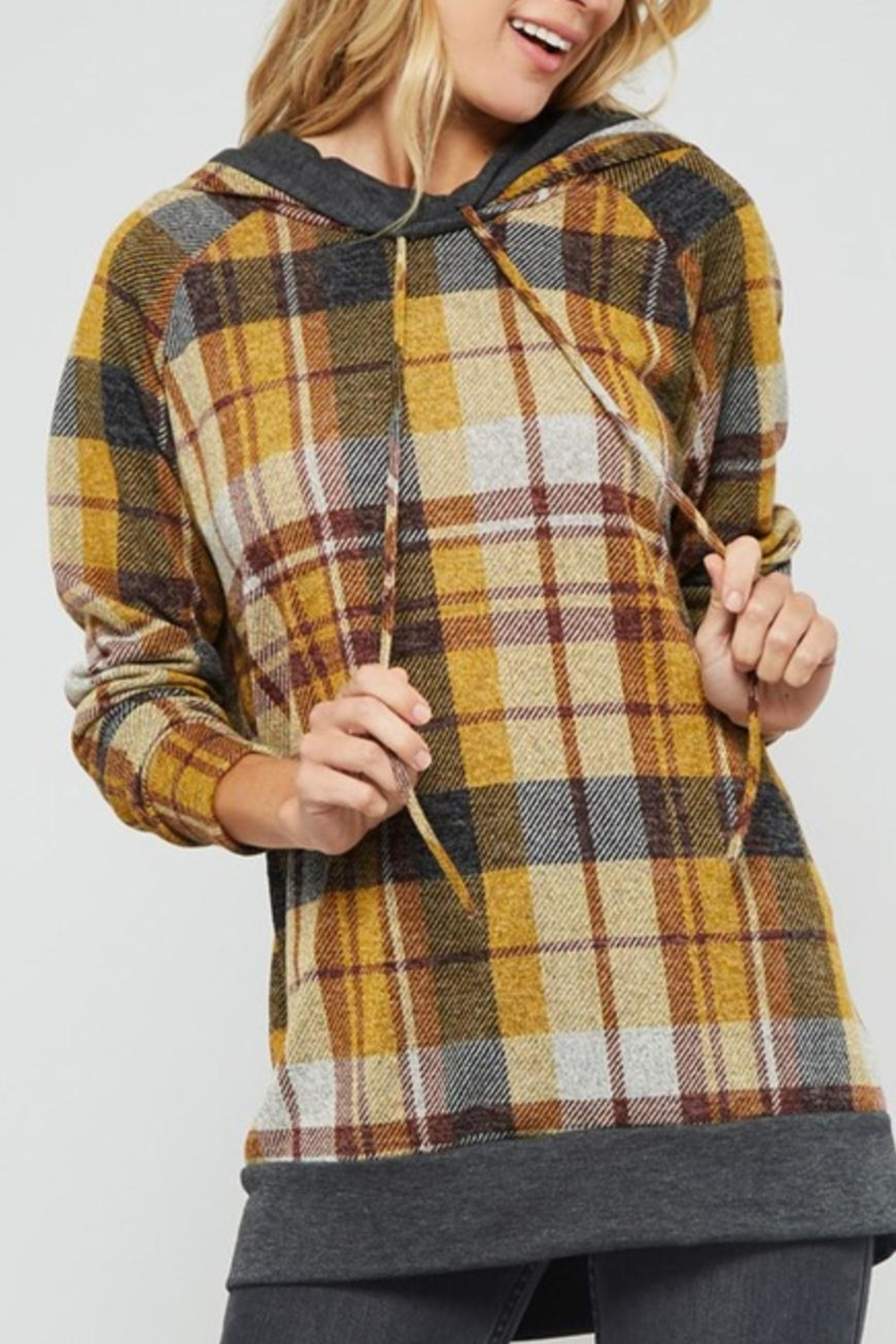Promesa Plaid Double-Hoodie Top - Back Cropped Image