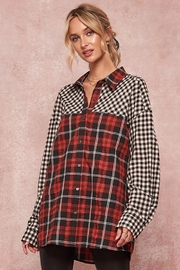 Promesa Rock America Graphic-Print Oversized Plaid Shirt - Product Mini Image