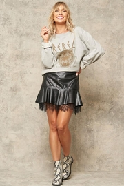 Promesa Ruffled Vegan Leather Lace Petticoat Mini Skirt - Product Mini Image