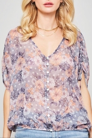 Promesa Sheer Floral Top - Front full body