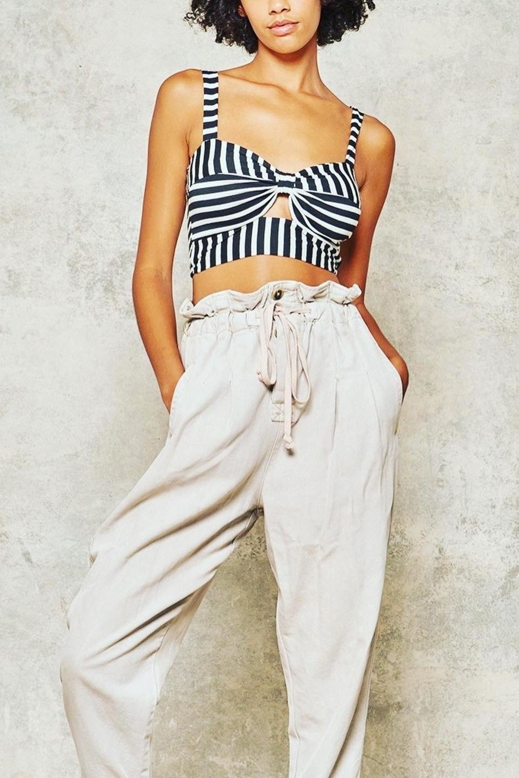 Promesa Striped Cut-Out Bustier - Side Cropped Image