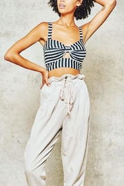 Promesa Striped Cut-Out Bustier - Front full body
