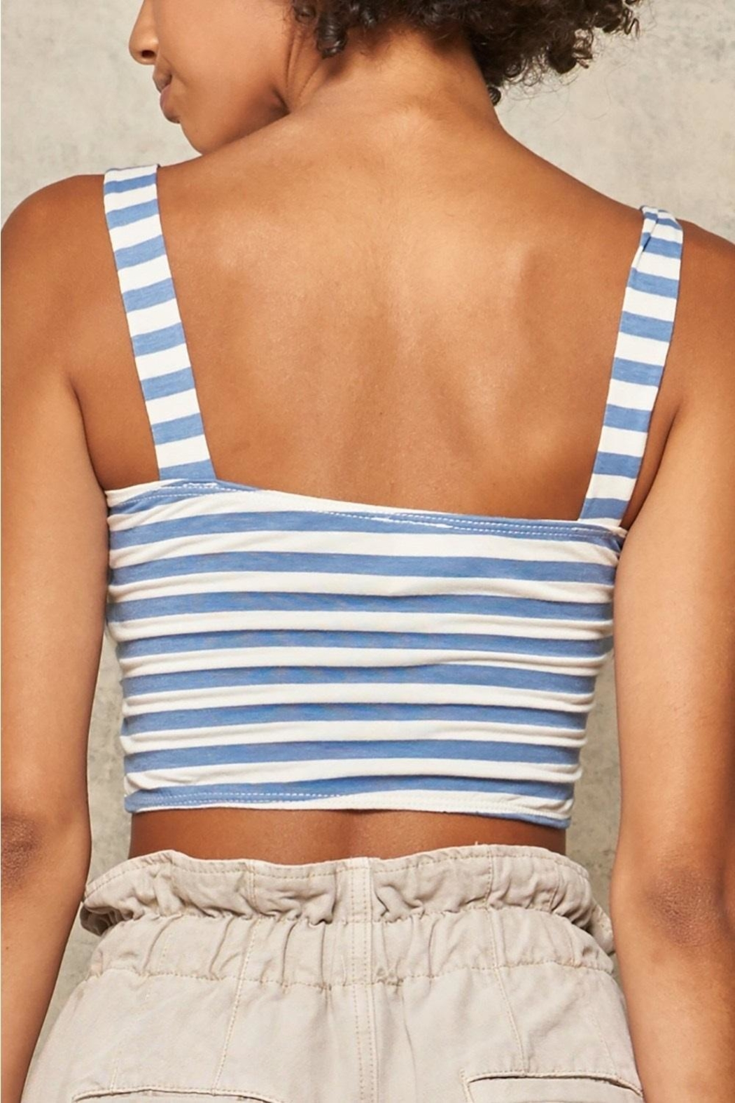 Promesa Striped Cut-Out Bustier - Back Cropped Image