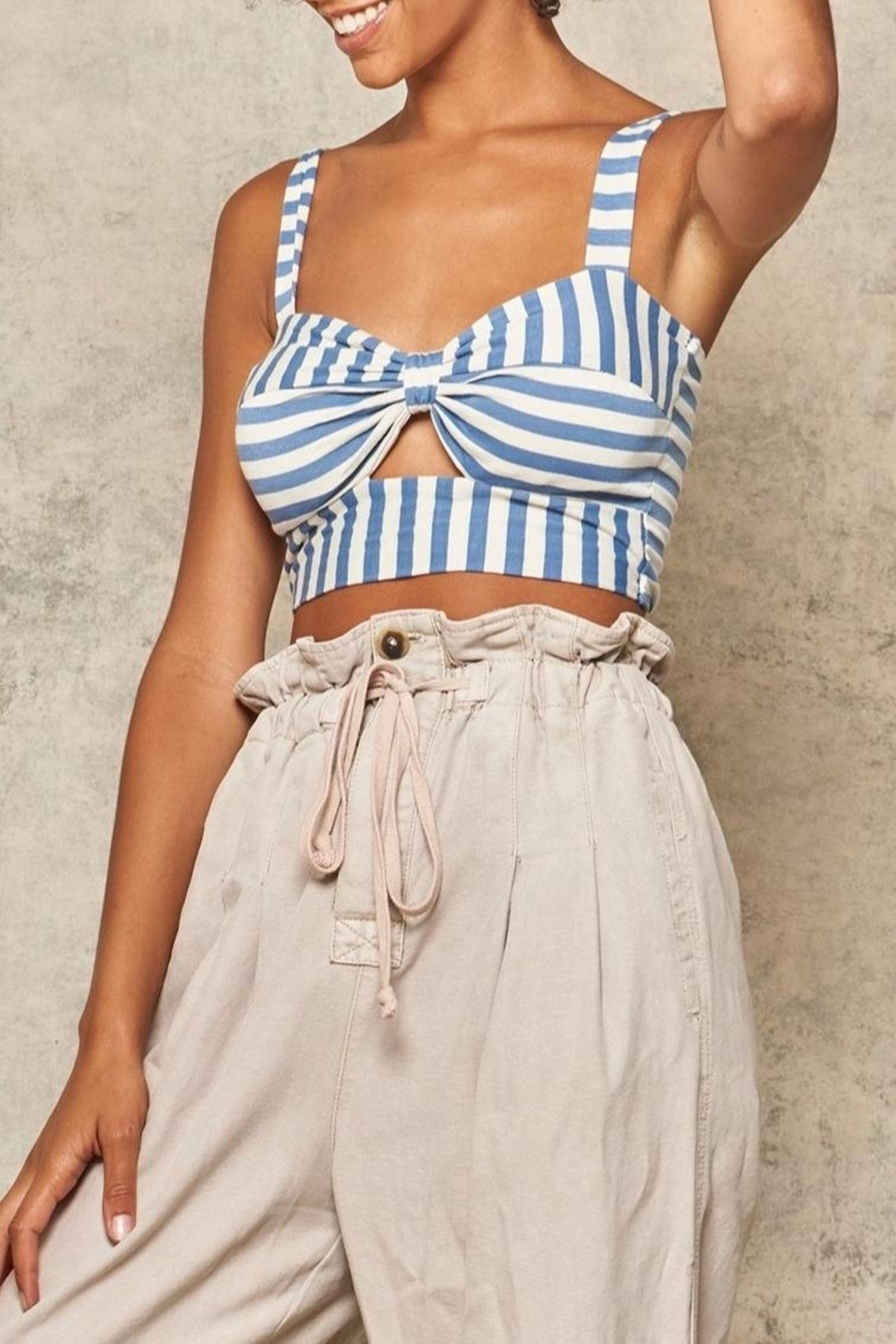 Promesa Striped Cut-Out Bustier - Front Cropped Image