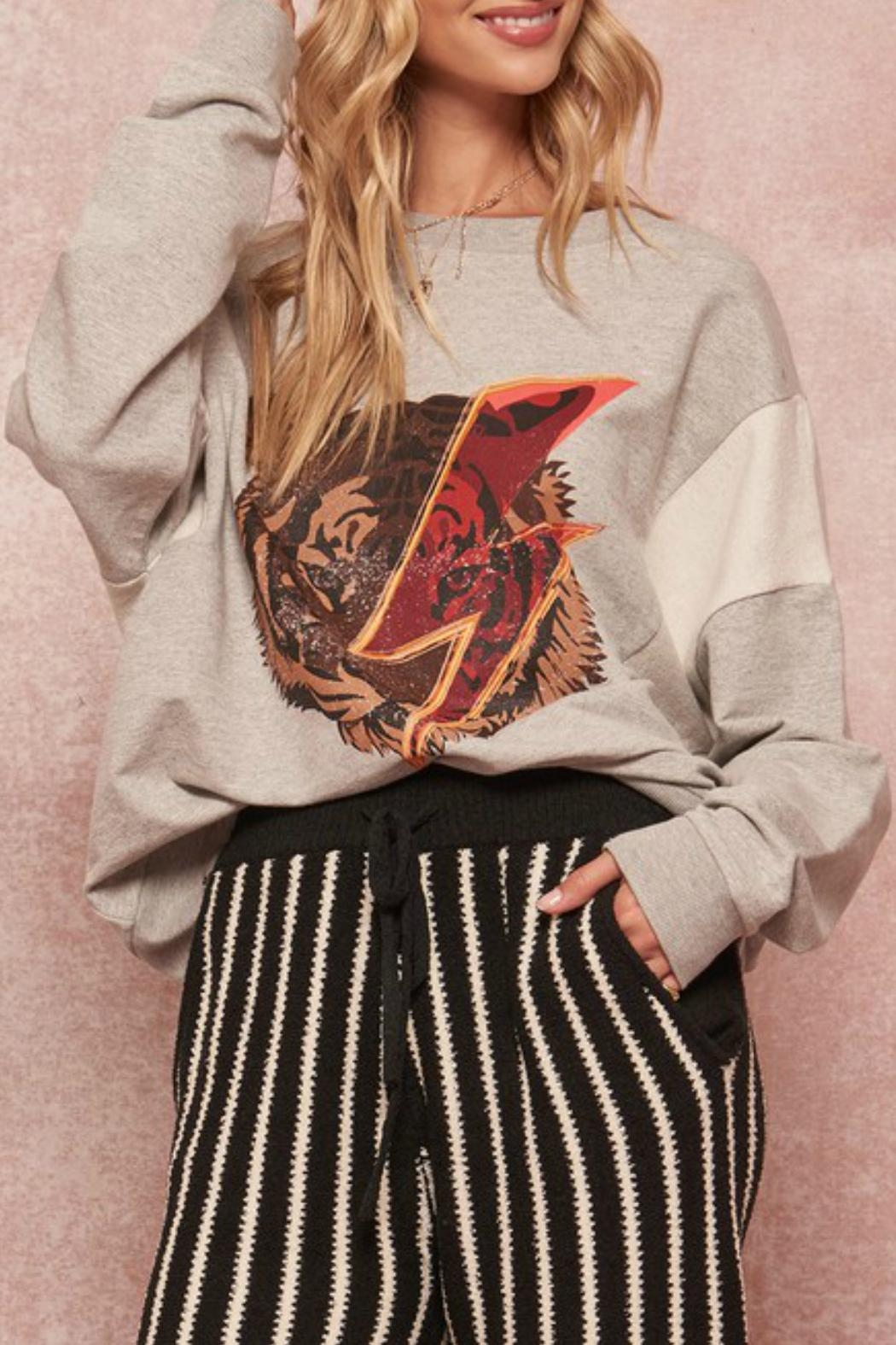 Promesa Tiger Graphic Sweatshirt - Front Cropped Image