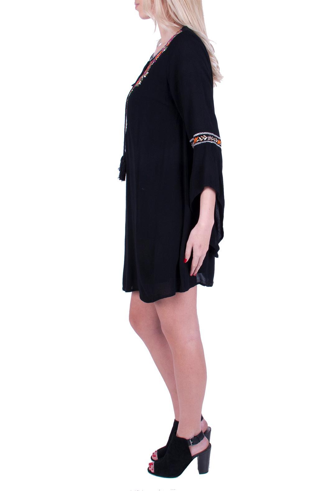 Promesa USA Black Embroidered Dress - Front Full Image