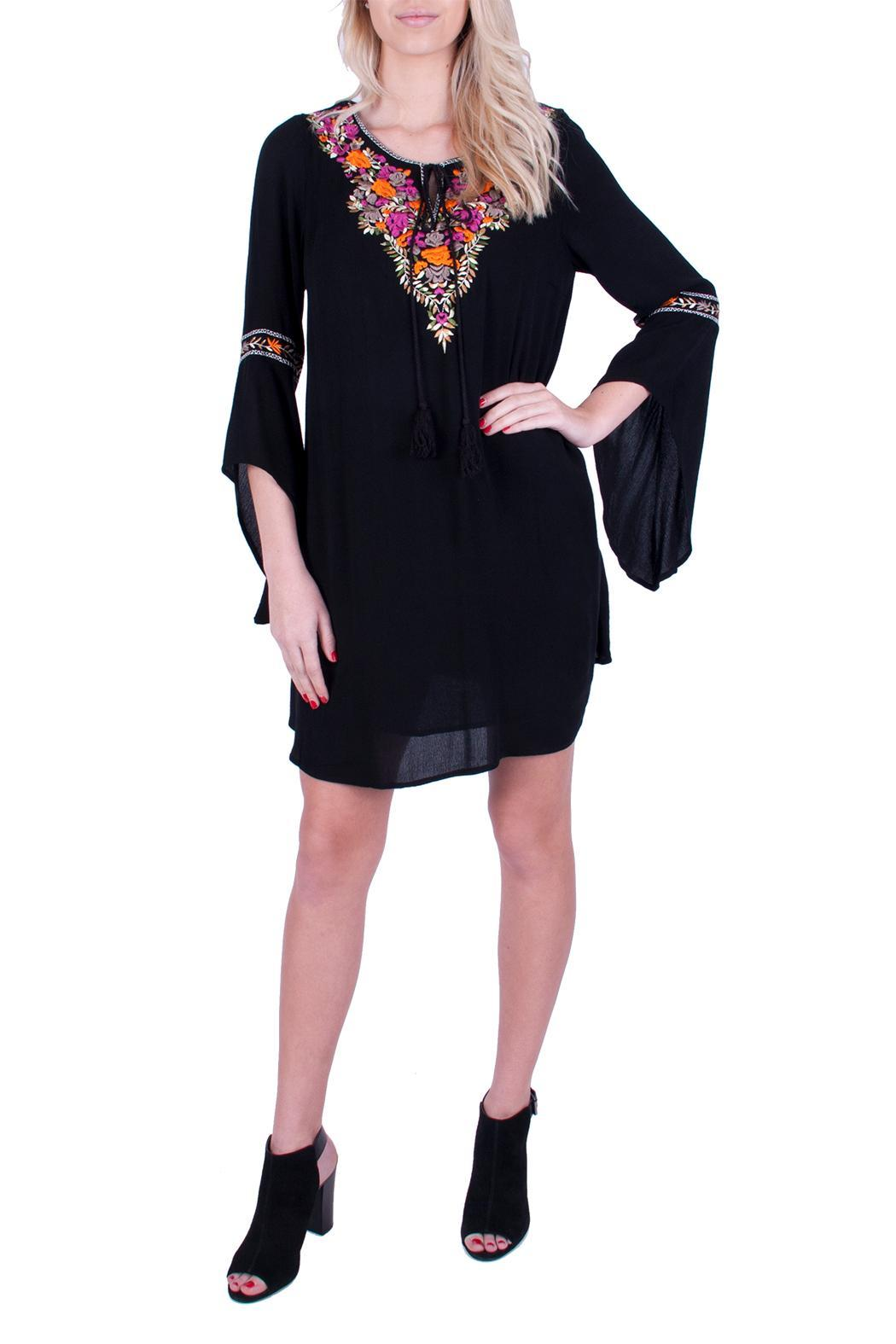 Promesa USA Black Embroidered Dress - Front Cropped Image