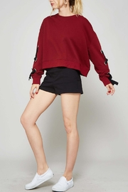 Promesa USA Burgundy Laced Sleeve Sweatshirt - Product Mini Image