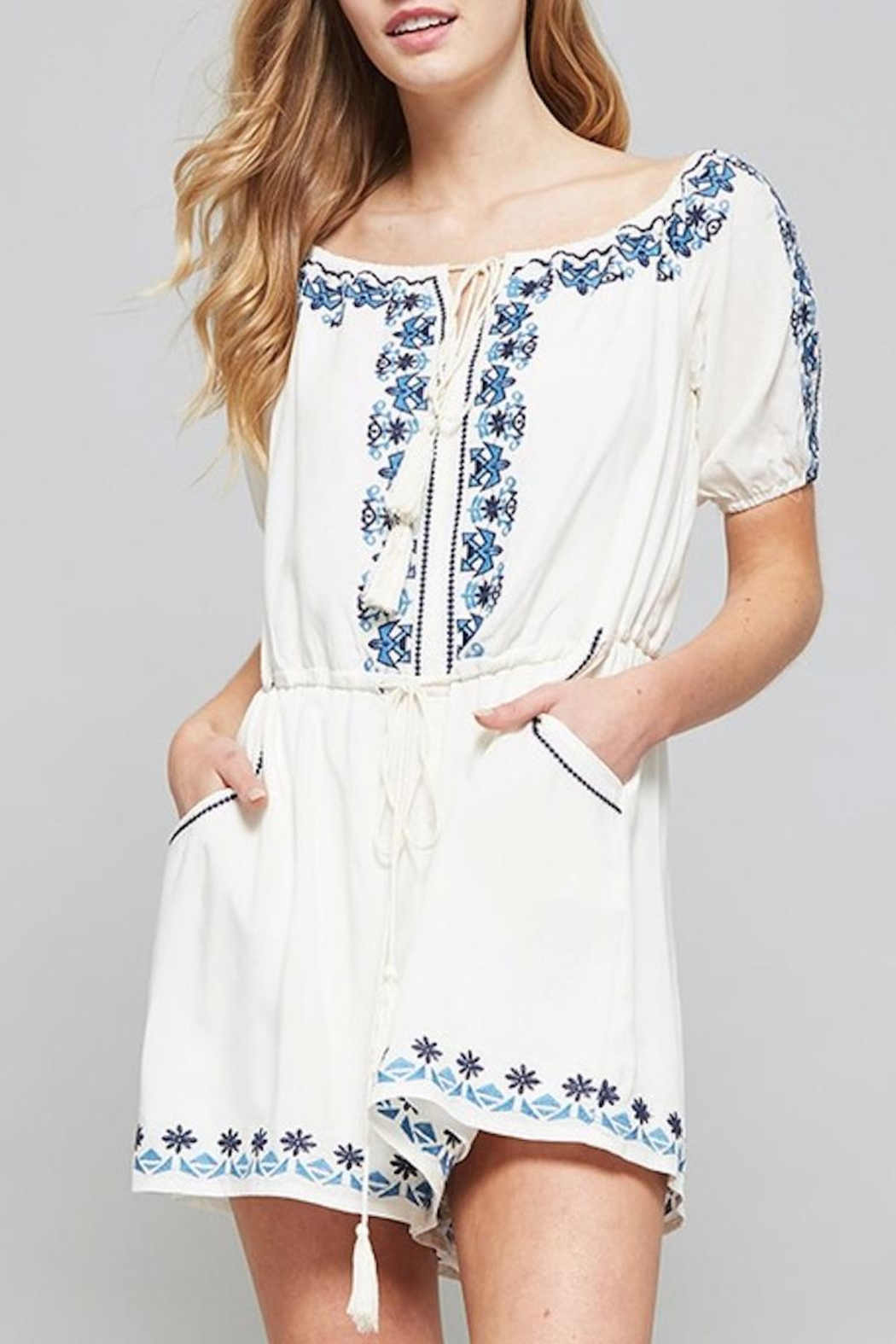 Promesa USA Embroidered Romper - Front Full Image