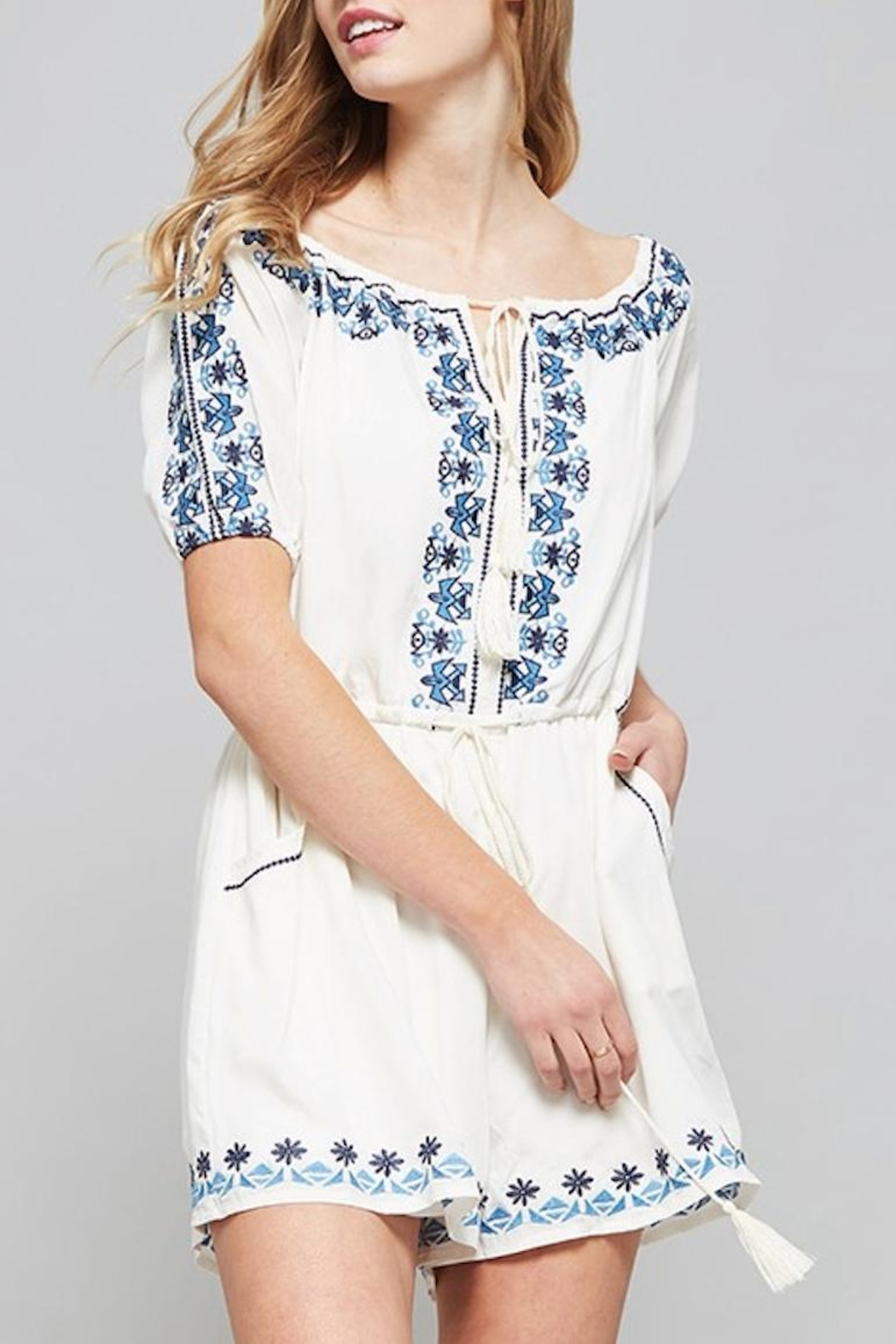 Promesa USA Embroidered Romper - Front Cropped Image