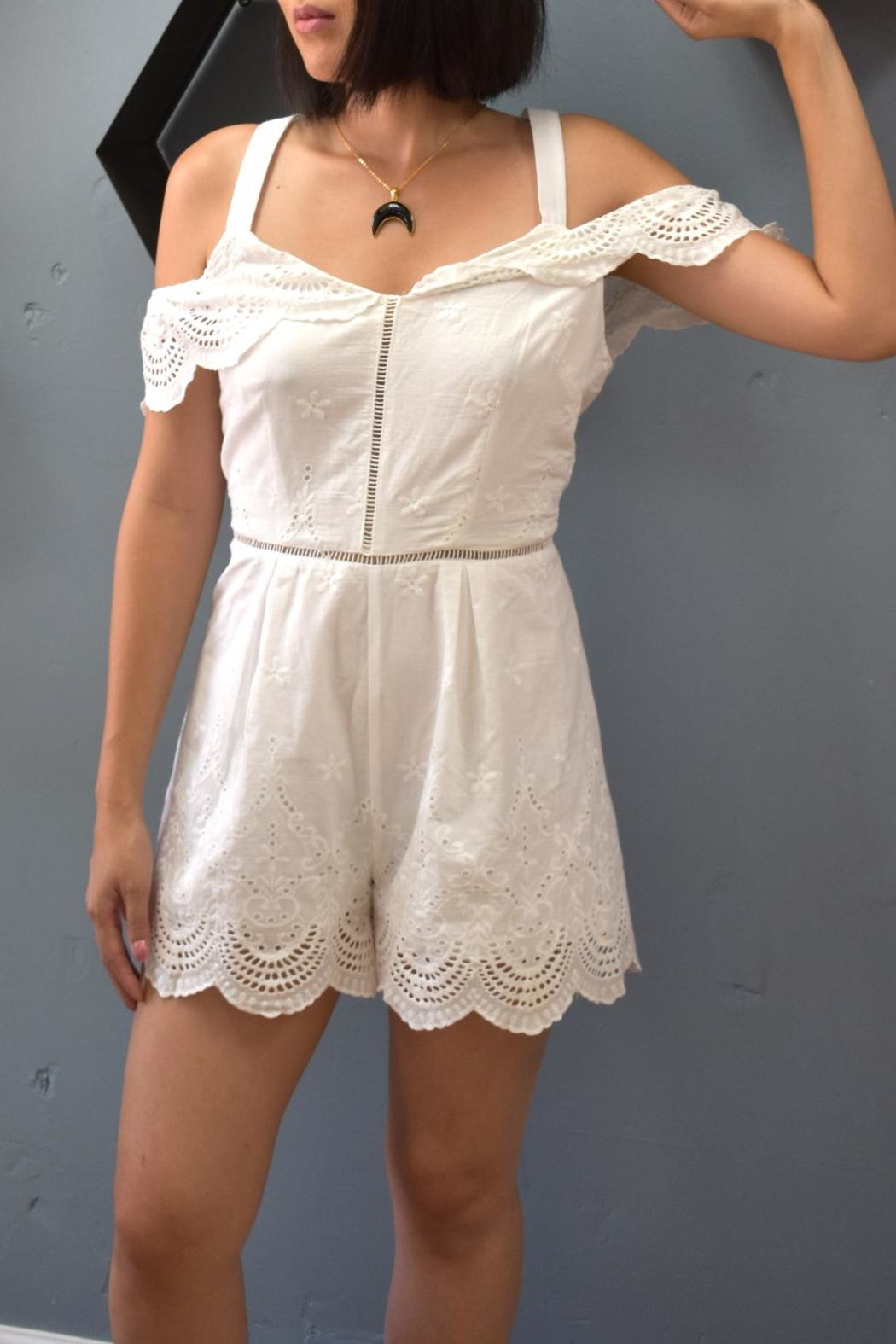 Promesa USA Embroidered White Romper - Main Image